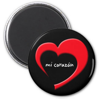 Mi Corazón II Magnet (red on black)