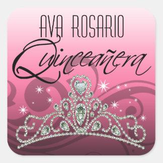 Mi Quinceañera Sparkling Tiara (pink) Party Square Sticker