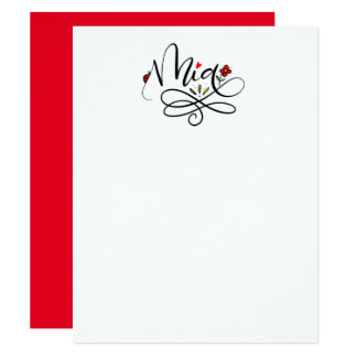 """Mia, hand lettered note cards 4.25"""" x 5.5"""" invitation card"""