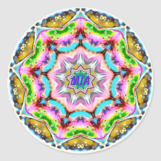 MIA ~ Personalised Paua Shell Fractal ~ Classic Round Sticker