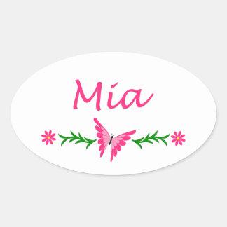 Mia (Pink Butterfly) Oval Sticker