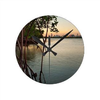 Miami and Mangroves at Sunset Round Clock