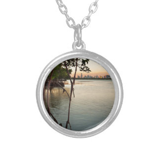 Miami and Mangroves at Sunset Silver Plated Necklace