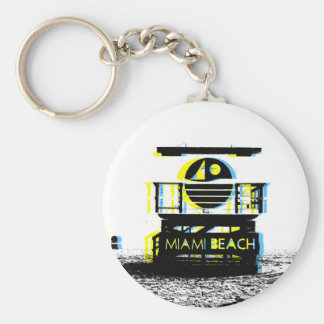Miami Beach Basic Round Button Keychain