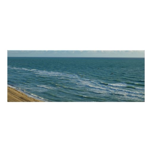 Miami Beach Blue Waves Ocean Horizontal Landscape Poster
