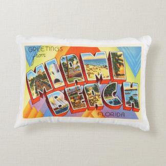 Miami Beach Florida FL Old Vintage Travel Souvenir Accent Pillow