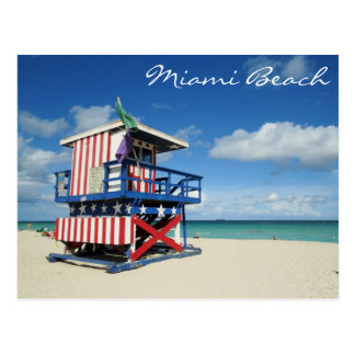 Miami Beach Florida Guard Tower Postcard