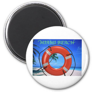 MIAMI BEACH FLORIDA ORANGE LIFE RING MAGNET