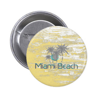 Miami-Beach, Florida,Palms, Grunge Cool 2 Inch Round Button