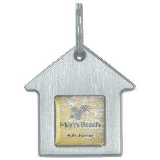 Miami-Beach, Florida,Palms, Grunge Cool Pet ID Tag