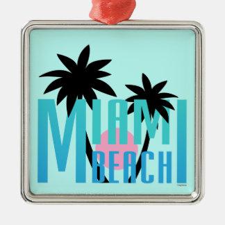Miami-Beach-Florida-Typography Metal Ornament