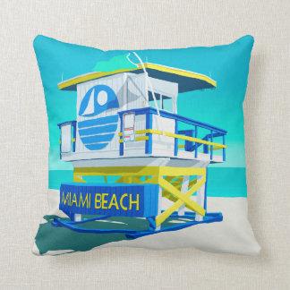 Miami Beach Hut. Throw Pillow