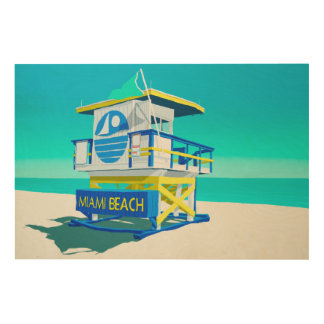 Miami Beach Hut. Wood Print