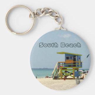 Miami Beach Lifeguard Shack Basic Round Button Keychain