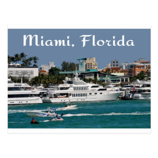 Miami Beach  Marina Florida Travel Postcard