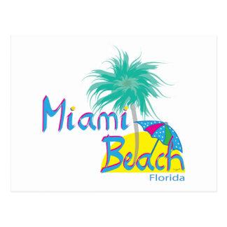 Miami Beach Palm and sun Postcard