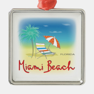 Miami Beach Palms Metal Ornament