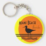 Miami Beach Sunset Souvenir Basic Round Button Keychain