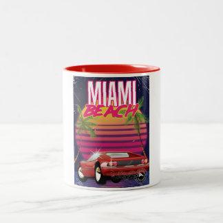 miami beach vintage travel poster Two-Tone coffee mug