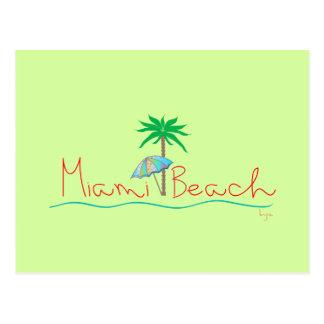 Miami Beach with Palm and Umbrella Postcard