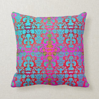Miami_Damask_ Pink-Blue-Children's_Fabric Throw Pillow