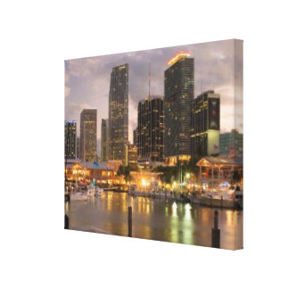 Miami financial skyline at dusk canvas print
