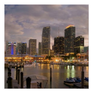 Miami financial skyline at dusk posters
