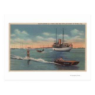 Miami, FL - Water Skiing Scene, Wooden Boat Postcard