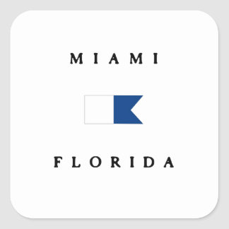 Miami Florida Alpha Dive Flag Square Sticker