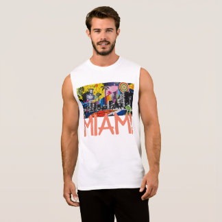 Miami Florida Cool Graffiti Mural Tank, Men Sleeveless Shirt