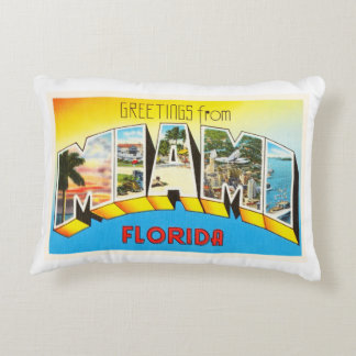 Miami Florida FL Old Vintage Travel Souvenir Accent Pillow