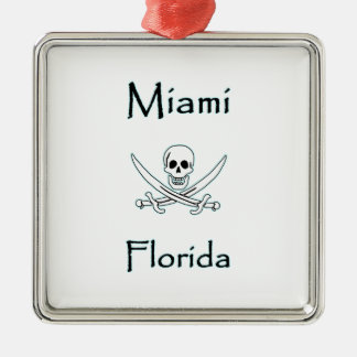 Miami Florida Jolly Roger Metal Ornament