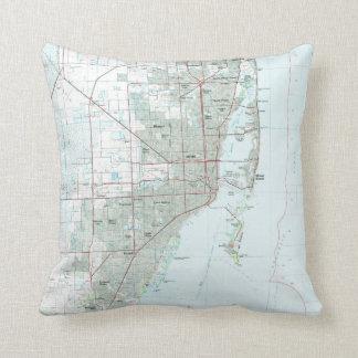 Miami Florida Map (1981) Throw Pillow