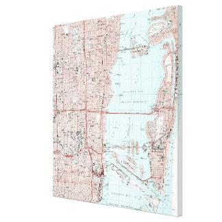 Miami Florida Map (1988) Canvas Print