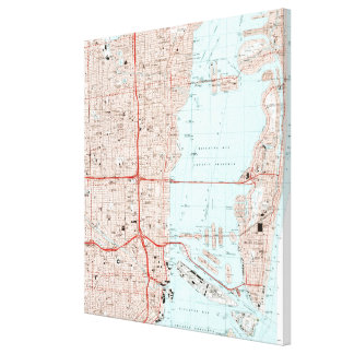 Miami Florida Map (1994) Canvas Print