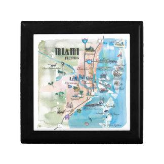 Miami Florida Retro Map Gift Box