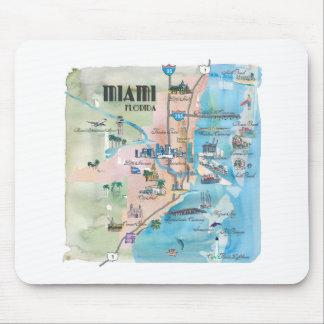 Miami Florida Retro Map Mouse Pad