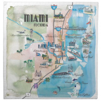 Miami Florida Retro Map Napkin