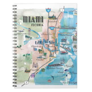 Miami Florida Retro Map Notebook