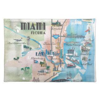 Miami Florida Retro Map Placemat