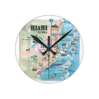 Miami Florida Retro Map Round Clock