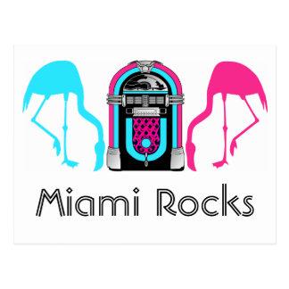 Miami Florida Rocks Flamingo Retro Jukebox Postcard