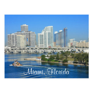 Miami Florida Skyline and Harbour Postcard