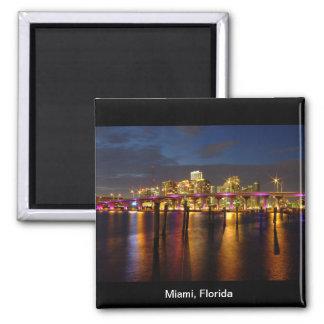 Miami Florida Skyline at Night Magnet