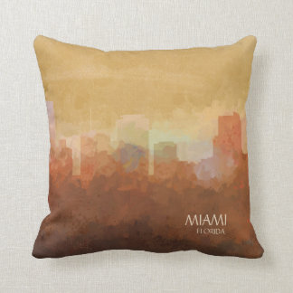 Miami, Florida Skyline-In the Clouds Throw Pillow