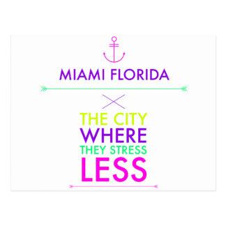 Miami Florida - Stress Less Postcard