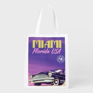 Miami Florida USA vintage poster Reusable Grocery Bag