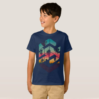 Miami Geometric Sunset Beach T-Shirt