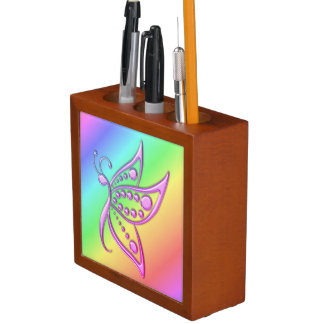 Miami Gold Butterfly Dots and Pastel Rainbow Desk Organizer