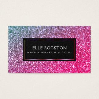 Miami Gold Glitter Bokeh Lights Frame Black Business Card